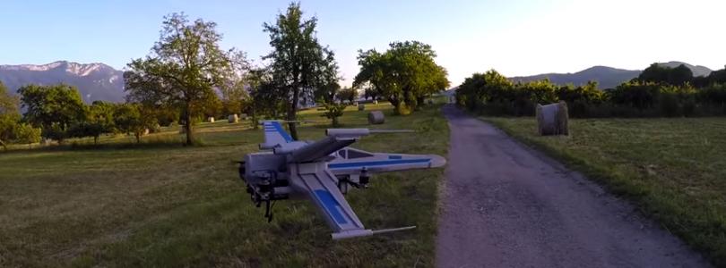 Dron X-Wing en plena acción, si te gusta Star Wars, no te lo puedes perder