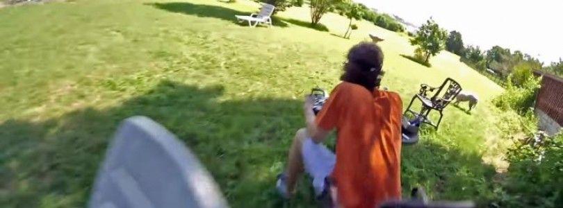 Piloto estampa el dron contra su propia cabeza